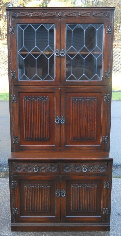 Oak Linenfold Glazed Top Bookcase Cabinet by Old Charm